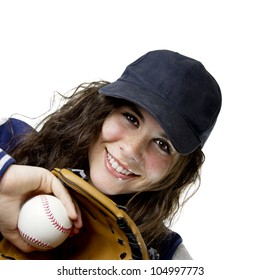 pretty young woman with a baseball uniform