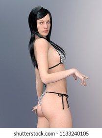 Pretty young woman with black hair in bikini Computer generated 3D illustration