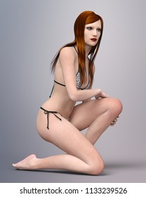Pretty young woman with brown hair in bikini Computer generated 3D illustration