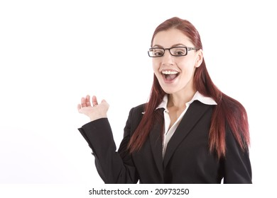 Pretty young woman in business attire waving her hand
