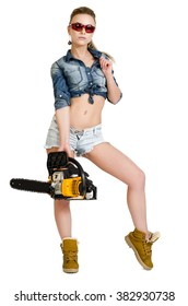 Pretty young woman with a chainsaw