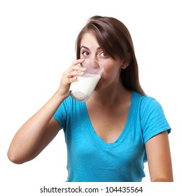 pretty young woman drinking milk
