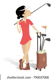 Pretty young woman with a golf club on the shoulder and bag full of golf clubs and balls isolated on white illustration