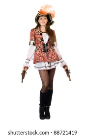 Pretty young woman with guns dressed as pirates