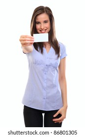 pretty young woman holding a blank businesscard