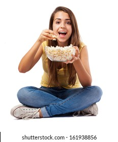pretty young woman holding a pop corn bowl