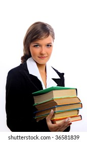 A pretty young woman, isolated against a white background, carries a stack of books