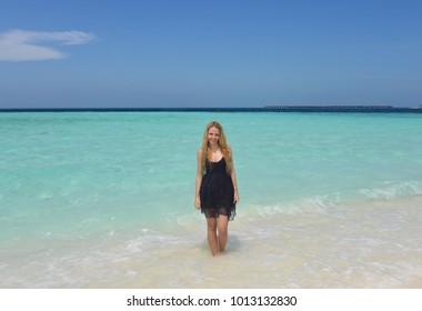 Pretty young woman in Maldives