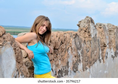pretty young woman outdoor in summer