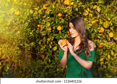Pretty young woman, outdoors at sunset in a orange orchard, smiling, holding an orange fruit. Healthy lifestyle concept, skin and hair care concept.