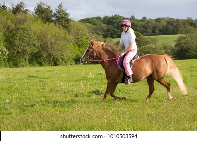 Pretty young woman riding her beautiful chestnut pony in the equally beautiful Shropshire countryside enjoying cantering in open fields on a lovely sunny summers day.