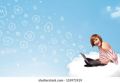 Pretty young woman sitting in cloud with laptop, letters concept