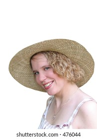Pretty young woman in straw hat; over white