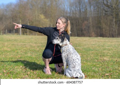 Pretty young woman teaching her dog commands kneeling down in a field alongside it pointing with her hand to the side as the animal looks alertly in that direction
