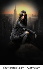 Pretty young woman thief over the rooftops wearing a black leather jaket. Book cover for a fantasy novel.
