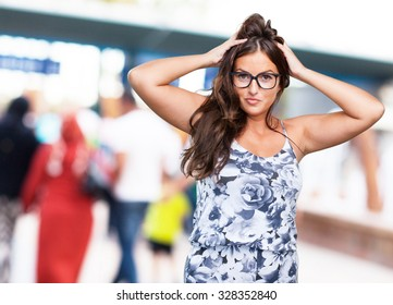 pretty young woman touching her hair