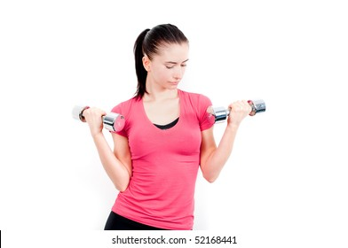 pretty young woman training with two dumbbells isolated on white background