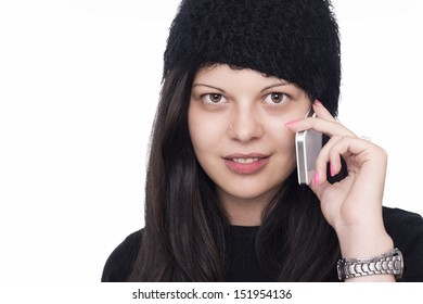 Pretty young woman using mobile phone