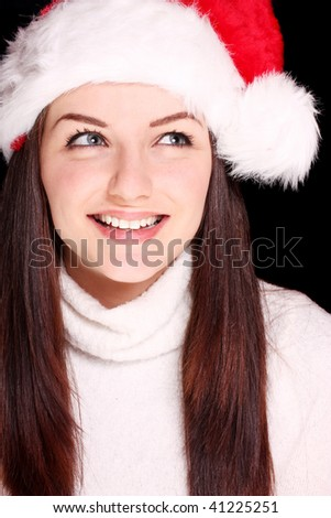 4ac72d6cf8c66 Pretty Young Woman Wearing Santa Hat Stock Photo (Edit Now) 41225251 ...
