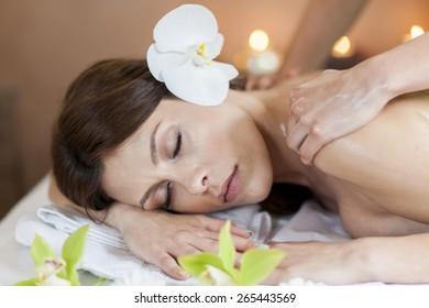Pretty young women having a massage