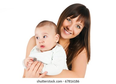 Pretty young women with her son isolated