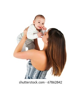 Pretty young women with son isolated