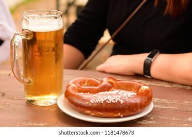 Pretzel and Beer at bavarian Oktoberfest