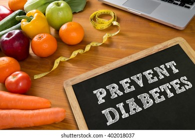 PREVENT DIABETES concept, fruit and tape measure on a wooden table, top view,