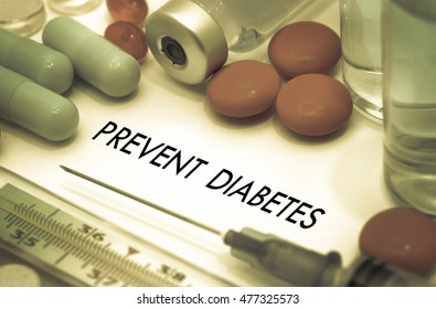 Prevent diabetes. Treatment and prevention of disease. Syringe and vaccine. Medical concept. Selective focus. Color toning