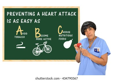 Preventing A Heart Attack is as easy as (ABC) Avoid Tobacco, Become more Active, Choose nutritious food, Healthcare worker stethoscope red heart ID Badge