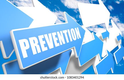 Prevention - text concept with blue and white arrows flying in a blue sky with clouds - 3d render illustration