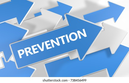 Prevention - text concept with blue and white arrows flying over a white background. 3d render illustration.