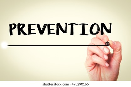 Prevention/Hand writing prevention with marker, concept background