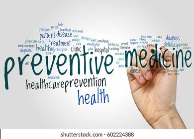 Preventive medicine word cloud concept on grey background