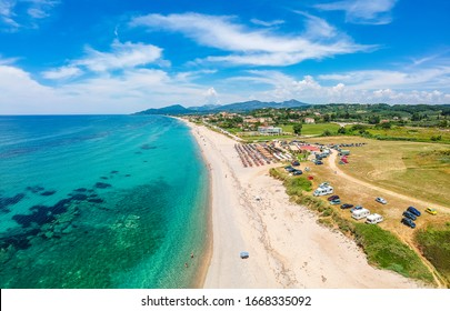 PREVEZA, GREECE - JUNE 2019: Beautiful beach of Monolithi in Preveza city, Greece