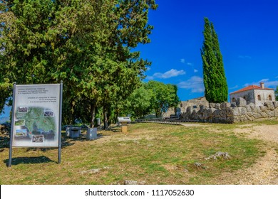 PREVEZA, GREECE - MAY 2018: The entrance to the archaeological site of Necromanteion an ancient temple dedicated to the god of the Underworld, Hades, and his consort, the goddess Persephone.
