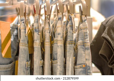 a Preview jeans hanging on a hanger in the store