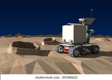 Preview low-poly model lunar rover on the planet's surface