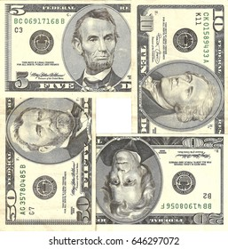 Previous Series of Five, Ten, Twenty and Fifty Dollars Banknotes - Used USD 5$ 10$ 20$ 50$ Cash Money Style