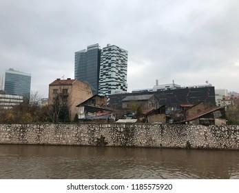 Pre-War And Post-War Buildings Along The Miljacka river In Sarajevo, Bosnia And Herzegovina.