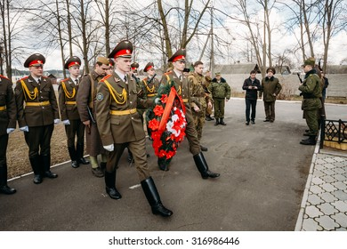Pribor, Belarus - April 4, 2015: Cadets Ministry of Emergency Situations laying of wreaths at mass grave of Soviet soldiers who died during battles for liberation of Belarus in World War II.
