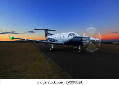 Pribram - 17 February 2014. Single turboprop aircraft airplane taking off,  shoted on aircraft Pribram, 17th February 2014, Czech Republic, aircraft, plane, business, fly, flying, landing, pilatus