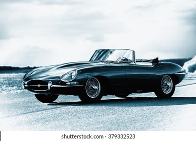 Pribram, Czech Republic - 8th August 2011. A sports car Jaguar E-Type S3 V12 engine, black. Silver color