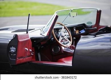 PRIBRAM/CZ - 8th August 2011. Sports car Jaguar E-Type S3 V12 engine, red interior.