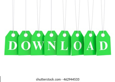 Price for download on green labels - 3D rendering