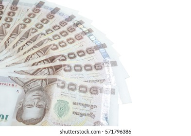 The price of one thousand baht banknotes on a white background.