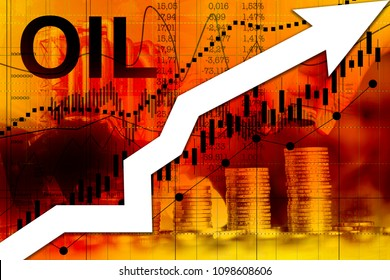Price of rising fuel prices. Up arrow as a symbol of the rapid rise in oil prices.