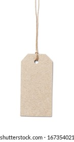 price tag on waxed cord from recycled paper, white background
