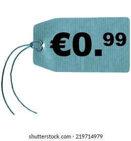 Price tag with string isolated over white, 0.99 euro cent - cool cyanotype