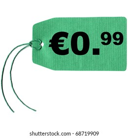 Price tag with string isolated over white, 0.99 euro cent